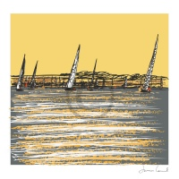 Arty Card Co Notelets - Class 1 racing Cowes/Cyclists