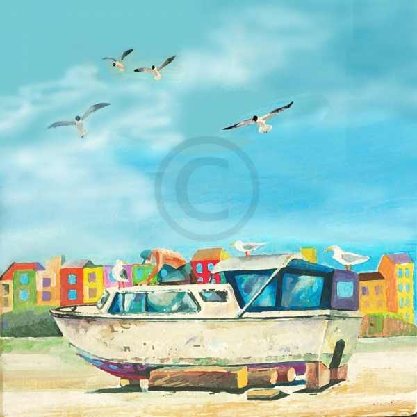 Arty Card Co Greetings Card - working of the boat