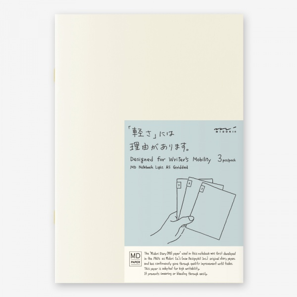 MD Notebook A5 Light Grid- pack of 3