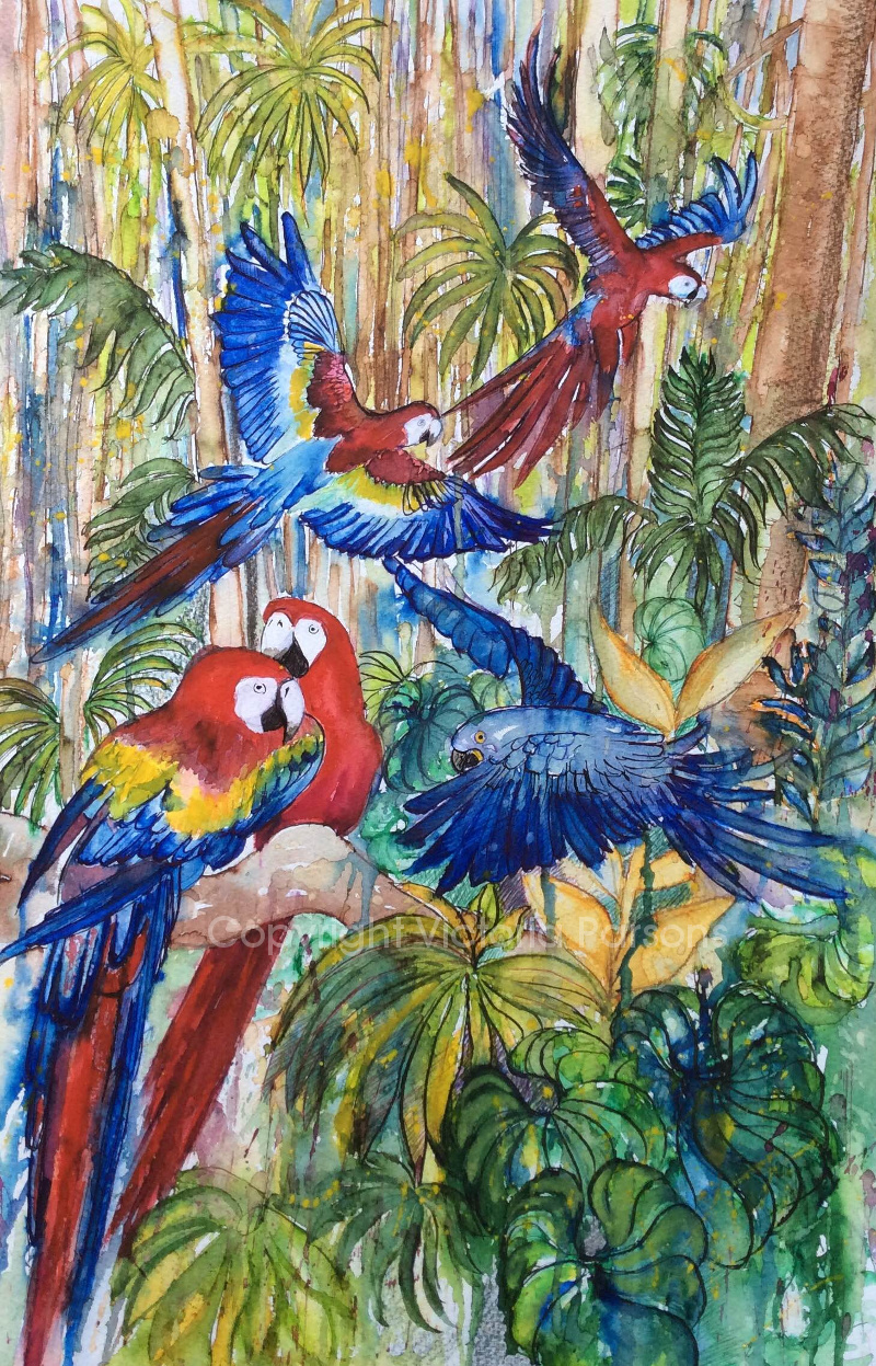 painting of parrots made with Diamine inks